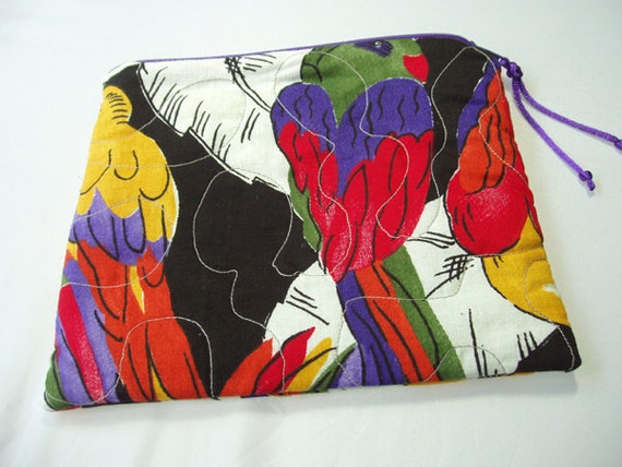 Quilted  Zipper Cosmetic Pouch in Bold Graphic Parrot Print