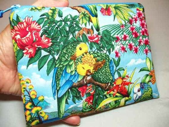 Padded Cosmetic Pouch Zipper Pouch in Bahama Blue Parrot Print