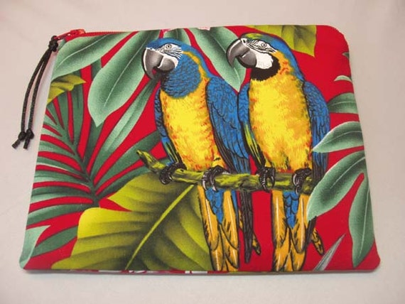 Padded Zipper Pouch Change Purse Coin Purse in Vibrant Macaw and Sun Conure Parrot Print