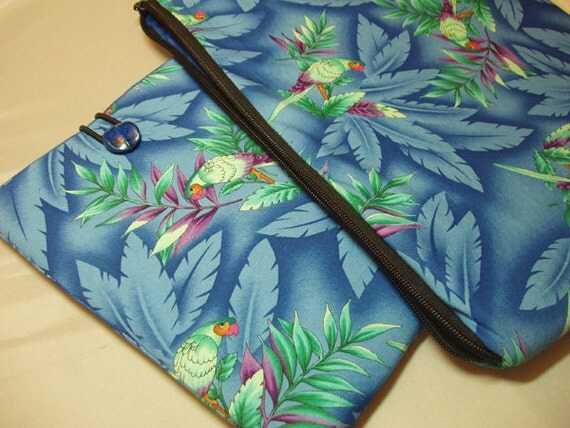 CUSTOM LISTING  for Sharon Crossgrove Phillips ONLY- Padded 13 inch (33 cm)  Laptop Sleeve and E-Reader Sleeve in Blue Tropical Parrot Print