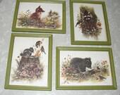 Vintage Set of 4 Forest Animal Prints
