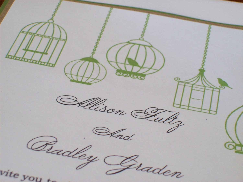 Wedding Invitations Birdcage: Items Similar To 5x7 Birdcage Wedding Invitation For The