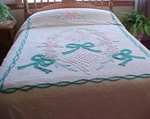 REDUCED.   1940's Emerald green bows chenille bedspread with pastel flowers on white background
