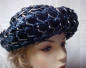 Navy blue and white woven raffia straw hat with turned up brim-22 inches