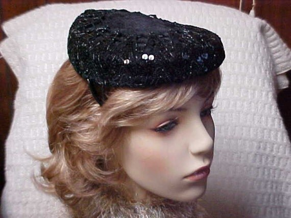 Reserved for roseeleigh:  Pretty black imported fur hat fascinator with black sequined top