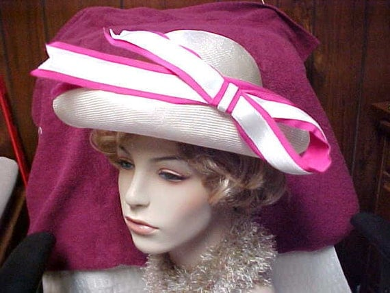 Reserved for Arpha :Wimsey white hat trimmed in pink by Adolfo- New York and Paris