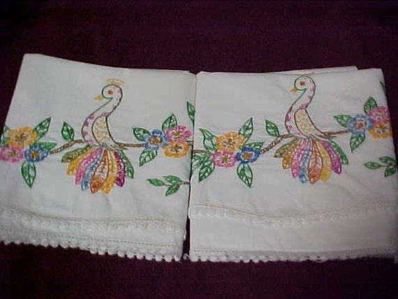 Pair of cotton pillow cases with Peacock hand embroidery in standard size