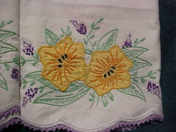 Pr pillow cases with applique flowers/crochet/ and emboidry
