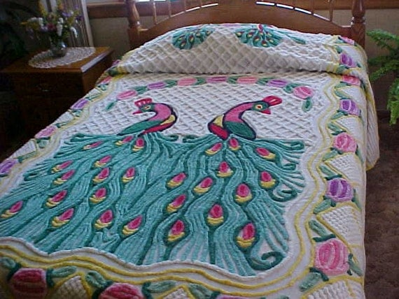 RESERVED for KELLI---50's Vintage double peacock chenille bedspread  86X102 inches
