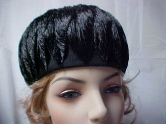 Reserved for Jiiarui:--Black cloche hat with unusual feather like decoration all around- designer label Mr Stanley - New York