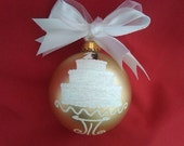 Wedding Cake Large Hand Painted Personalized Glass Ball Ornament