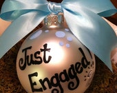 Just Engaged Large Personalized Glass Ball Ornament