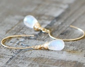 Rainbow Moonstone briolettte Earrings 14k gold filled AAA Gemstone wire wrapped