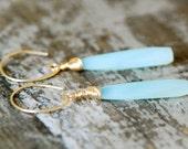 aqua blue Chalcedony Earrings briolette Gemstone long  14k gold filled wire wrapped