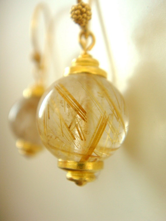 Gold rutilated quartz earrings for Golden rutilated quartz jewelry