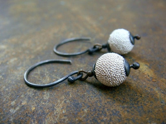Day and Night - textured oxidized Sterling Silver  Earrings