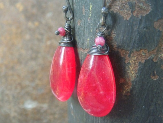 SALE  Quartz Earrings wire wrapped oxidized Sterling Silver  Ruby Gemstone red