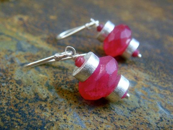 SALE Sterling Silver Earrings  pink ruby  dangle stone