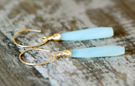 aqua blue Chalcedony Earrings briolette Gemstone long  14k gold filled wire wrapped