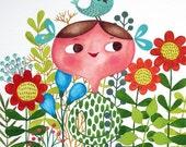 May loves green... original watercolor