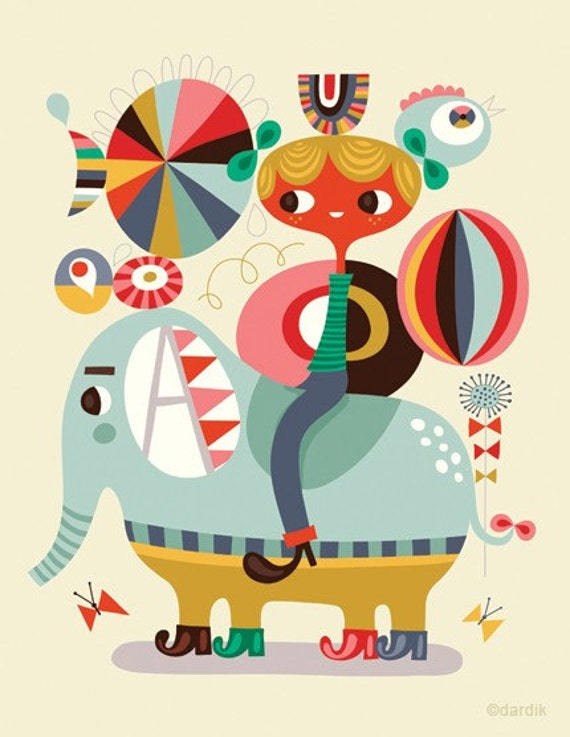 join the circus... limited edition giclee print of an original illustration (8.5 x 11in)