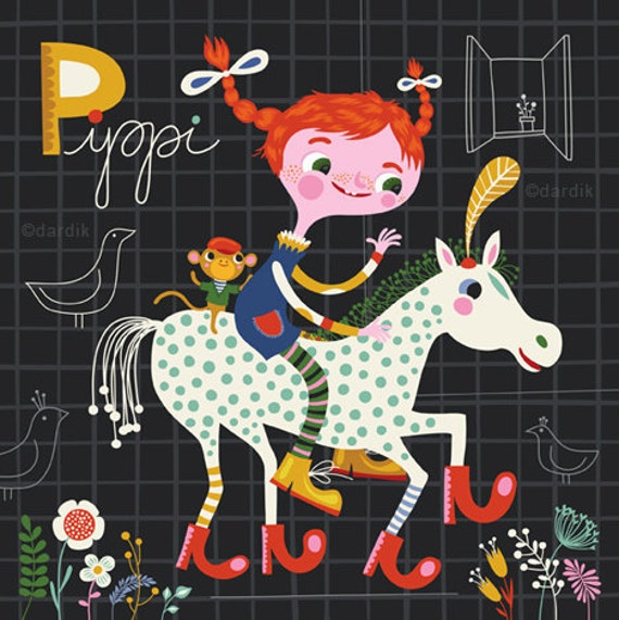 Pippi... limited edition giclee print of an original illustration (8 x 8 in, 20 x 20 cm)