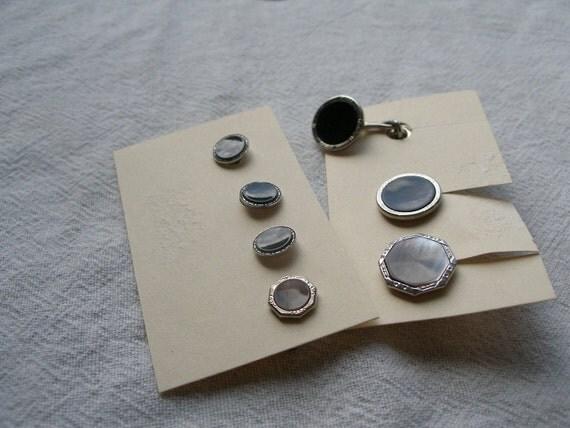 Tux stud buttons, cufflinks, ca1930s, mixed sets. Please read description.