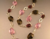 SALE - The Elegant Betty Rubble Purple, Pink and Gray Chunk and Matte Silver Link Necklace