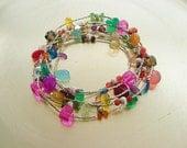 Savory Salmagundi Necklace/Bracelet Combo in Thai Sterling Silver - Semi Precious Stones in Rainbow Colors