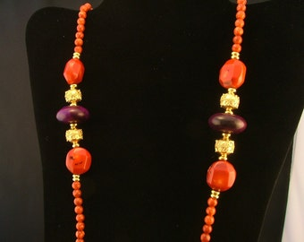 Indochine Long Purple Jade, Coral Chunk and Bali Vermeil Necklace - red Coral, Aubergine Jade Rondelles, Bali Gold Vermeil Beads
