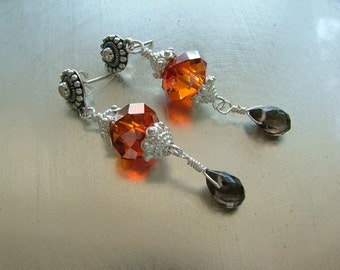 Soiled Dove' Red Hot Magma Swarovski Crystal and Bali Silver Earrings