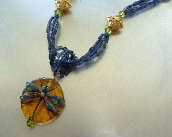 Lampwork Dragonfly, Iolite and Vermeil Multistrand Necklace