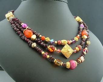 El Prado Garnet, Lampwork, Crystal and Bali Vermeil Three Strand Necklace - Fantasy Wedding, Renaissance Wear