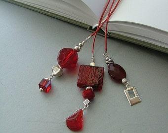 Valentine Reds Three Strand Leather Bookmark - Book Thong - Beaded