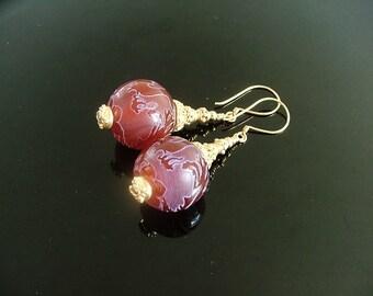 SALE - Exotic Dragon Agate and Bali Vermeil Earrings