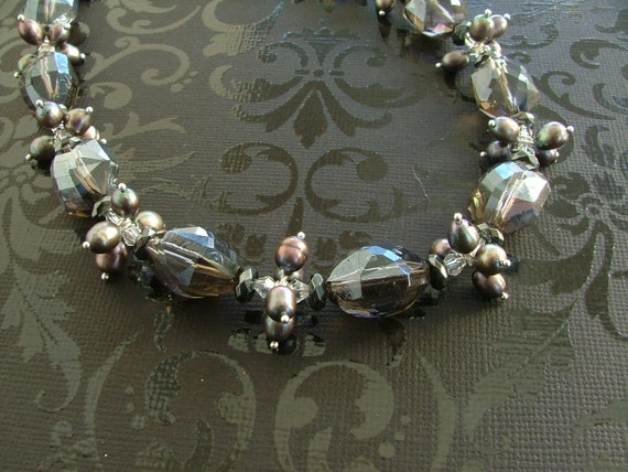 Pewter Crystal Chunk and Gray Pearl Necklace