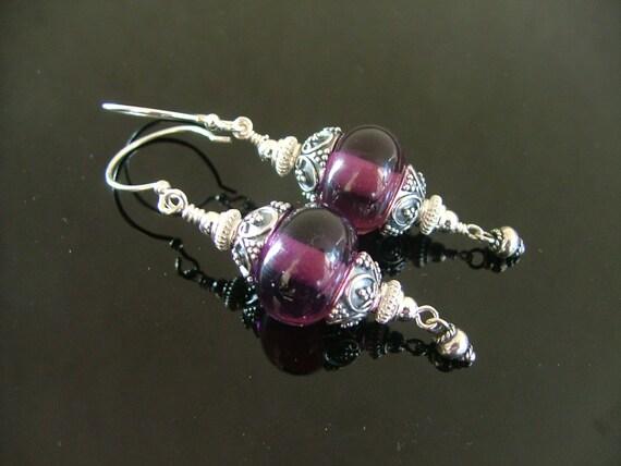Silver Grapes Handmade Earrings - Purple Lampworked Bead and Genuine Bali Sterling Silver Bead and Cap Earrings