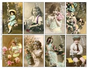 8 Children's Photos circa 1900 wth soft color accents in a digital collage sheet download - ACHLDP1
