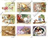 14 Easter Bunnies - adorable - circa 1900 on a collage sheet to Digital Download - ST14EB61