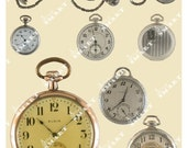 Watches - 9 Old Fashioned Pocket Watch Images on a Collage Sheet Digital Download - AWATC5