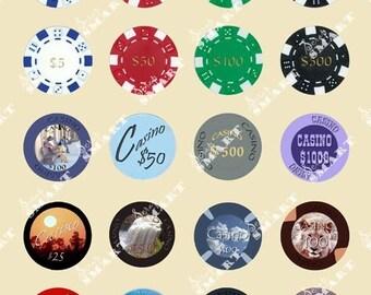 Poker Chips - 20 Images on a Collage Sheet Digital Download -APKRC
