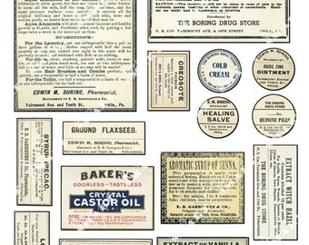 15 Pharmacy Labels - Antique 1850-1920 Designs on a Collage Sheet Digital Download - APHLB1