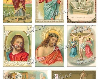 8 Jesus Religious Images circa 1900 on a Digital Collage Sheet Download - AJESU1