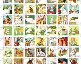 63 Easter Bunnies All different - 1 inch square Colorful Tiles Digital Collage Sheet Download - AETILE1
