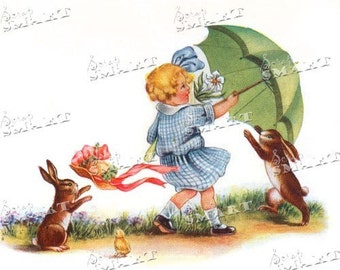 Easter bunnies on a windy day - very cute- in a full collage sheet digital download - DESTB16
