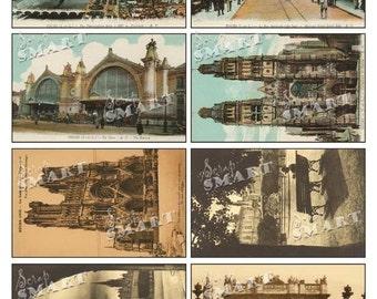 France-8 Architecture Vintage Postcards on a Collage Sheet Digital Download - AFRNP1