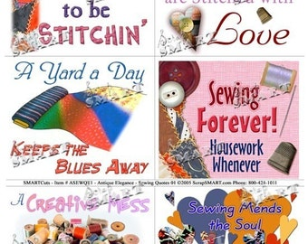 Sewing - 6 Quotes with Vibrant Illustrations and Photography - Digital Collage Sheet Download - ASEWQT1