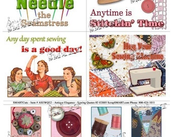 Sewing - 4 Quotes and Illustrations with 8 Sewing Title Images - Digital Collage Sheet Download - ASEWQT2
