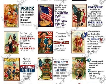Presidential Quotes - 14 Historic Quotes with Illustrations on a  Collage Sheet Digital Download - ST14PZQ10