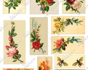 Roses Galore-11 Colorful Vintage Designs on a Collage Sheet Digital Download AROSE1